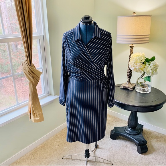 Mlle Gabrielle Dresses & Skirts - Mlle Gabrielle Striped Wrap Dress Size 3X